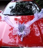 """svatební auto - srdce+šerpa s mašlemi """"Levandule"""","""