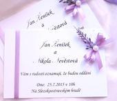 svatební oznámení s levandulkou,