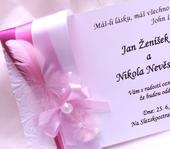 """svatební oznámení """"Pírko"""","""
