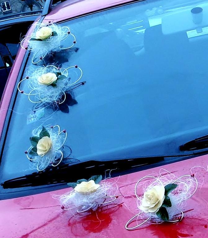"""Dekorace na svatební auto """"Dřevěný květ"""" - Obrázek č. 1"""