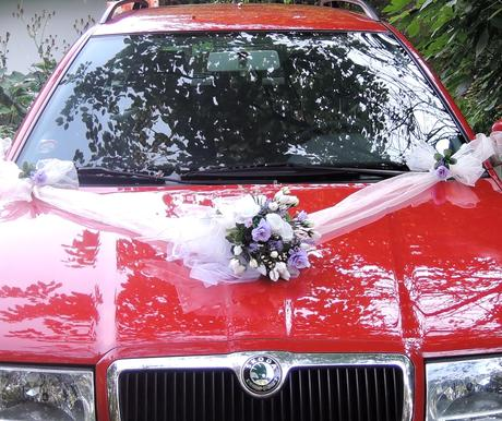 """Svatební auto - """"Bílé růže s lila a levandulí"""" - Obrázek č. 1"""