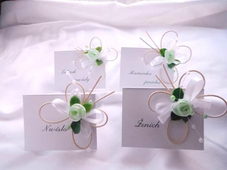 Svatební jmenovky - zelenobílí motýlci - Obrázek č. 1