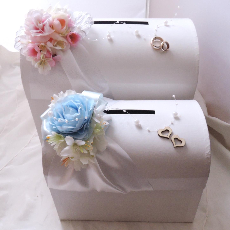 svatební pokladnička menší - modrobílá - Obrázek č. 1