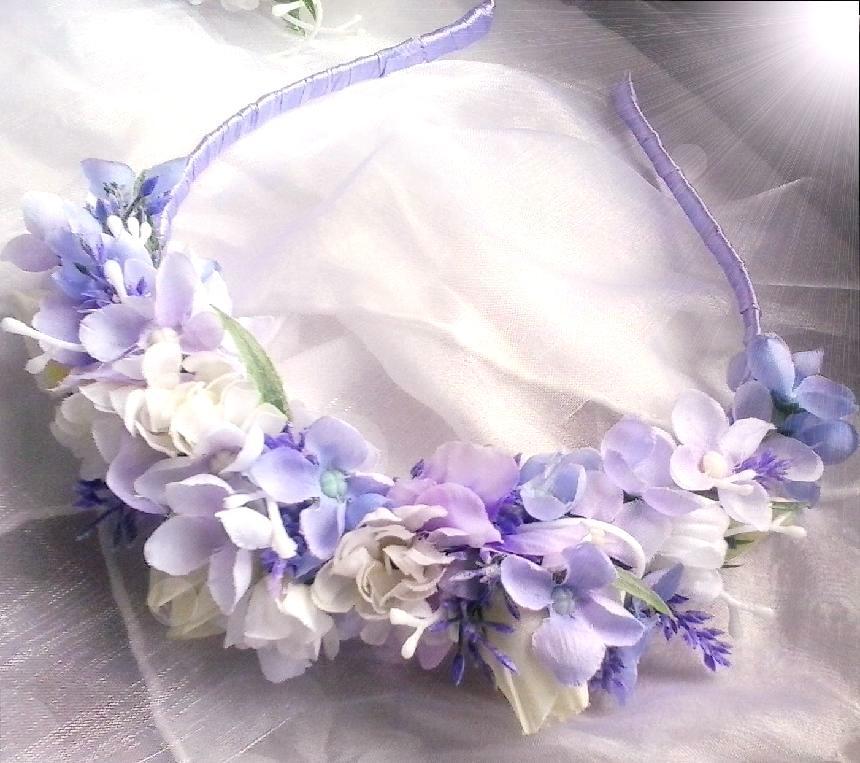 čelenka z látkových květů s levandulí - Obrázek č. 1