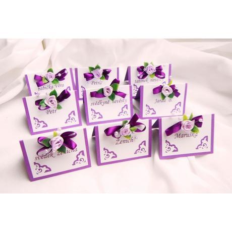 Svatební jmenovky - fialové ornamenty - Obrázek č. 1
