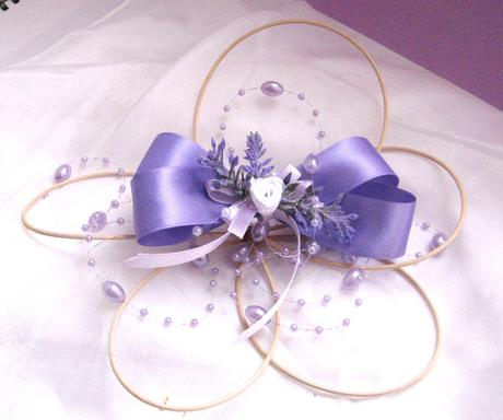 Dekorace na svatební auto - květ s levandulí  - Obrázek č. 1