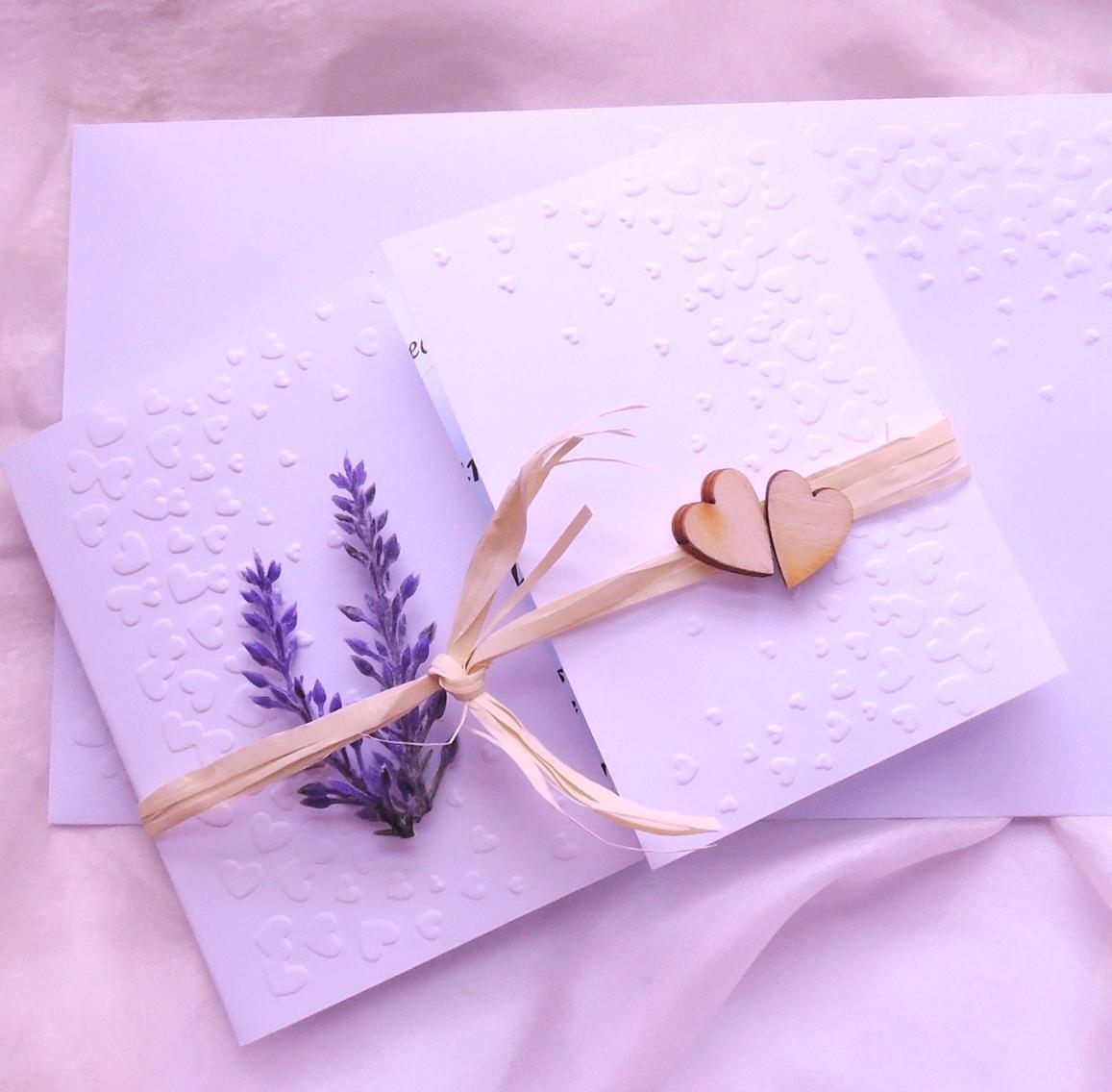 """Svatební oznámení """"Srdíčka a levandule"""" - Obrázek č. 1"""