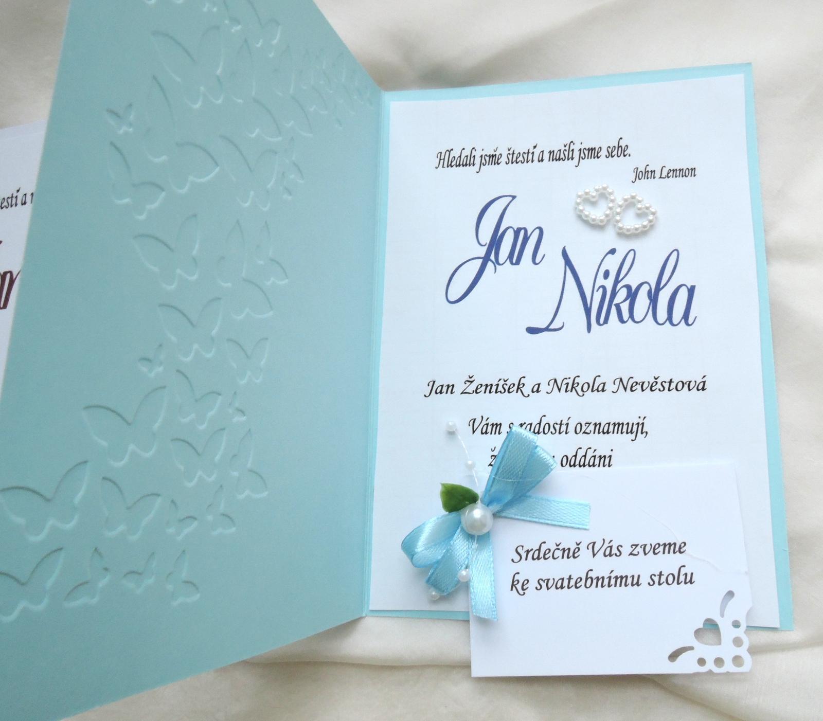 """svatební oznámení """"Elegant v modré"""" - Obrázek č. 4"""