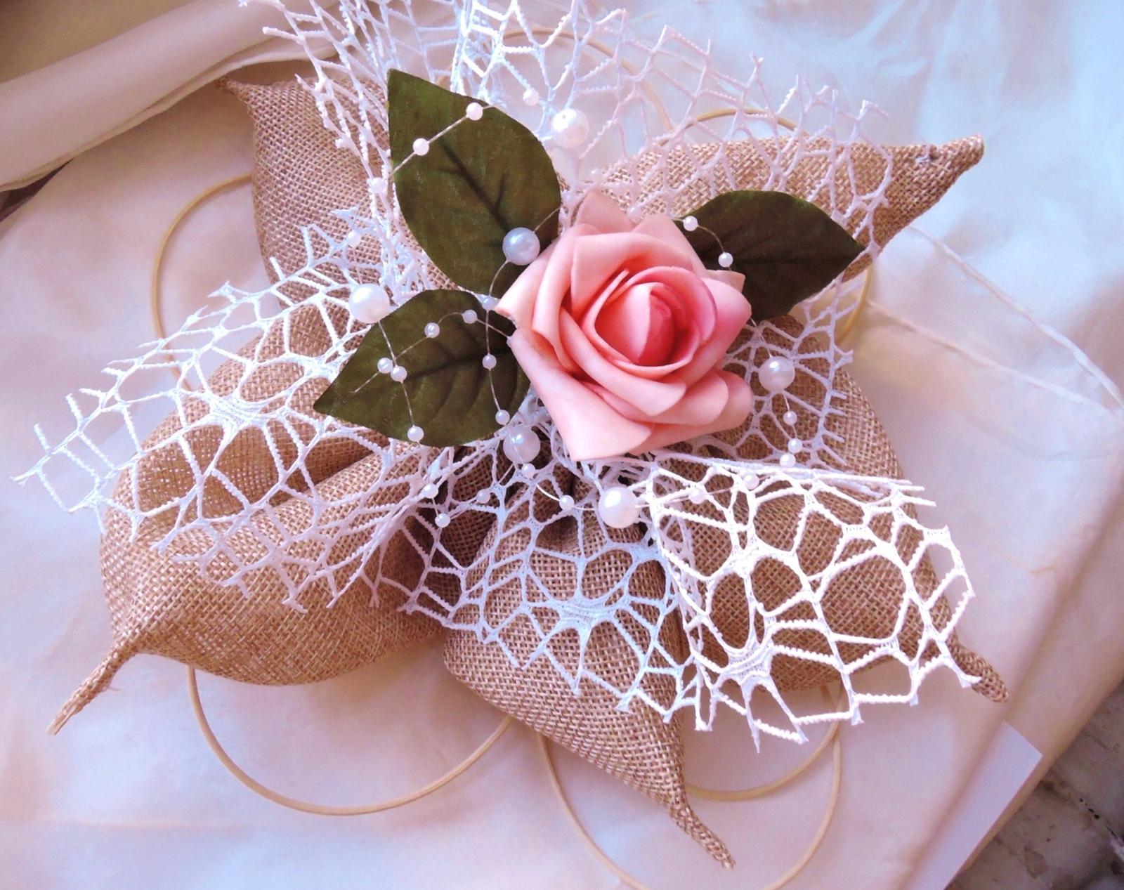 """Svatební auto - """"Jutový květ s růží"""" - Obrázek č. 1"""