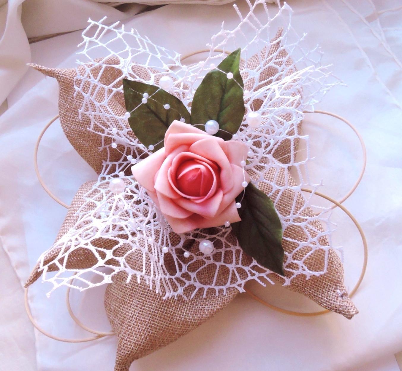 """Svatební auto - """"Jutový květ s růží"""" - Obrázek č. 2"""