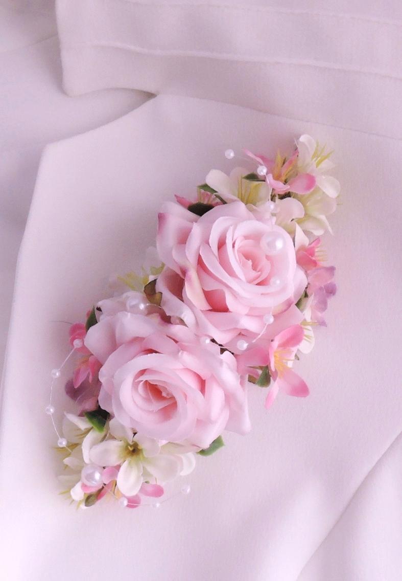 """svatební brož """"Růžová s bílou"""" - Obrázek č. 1"""