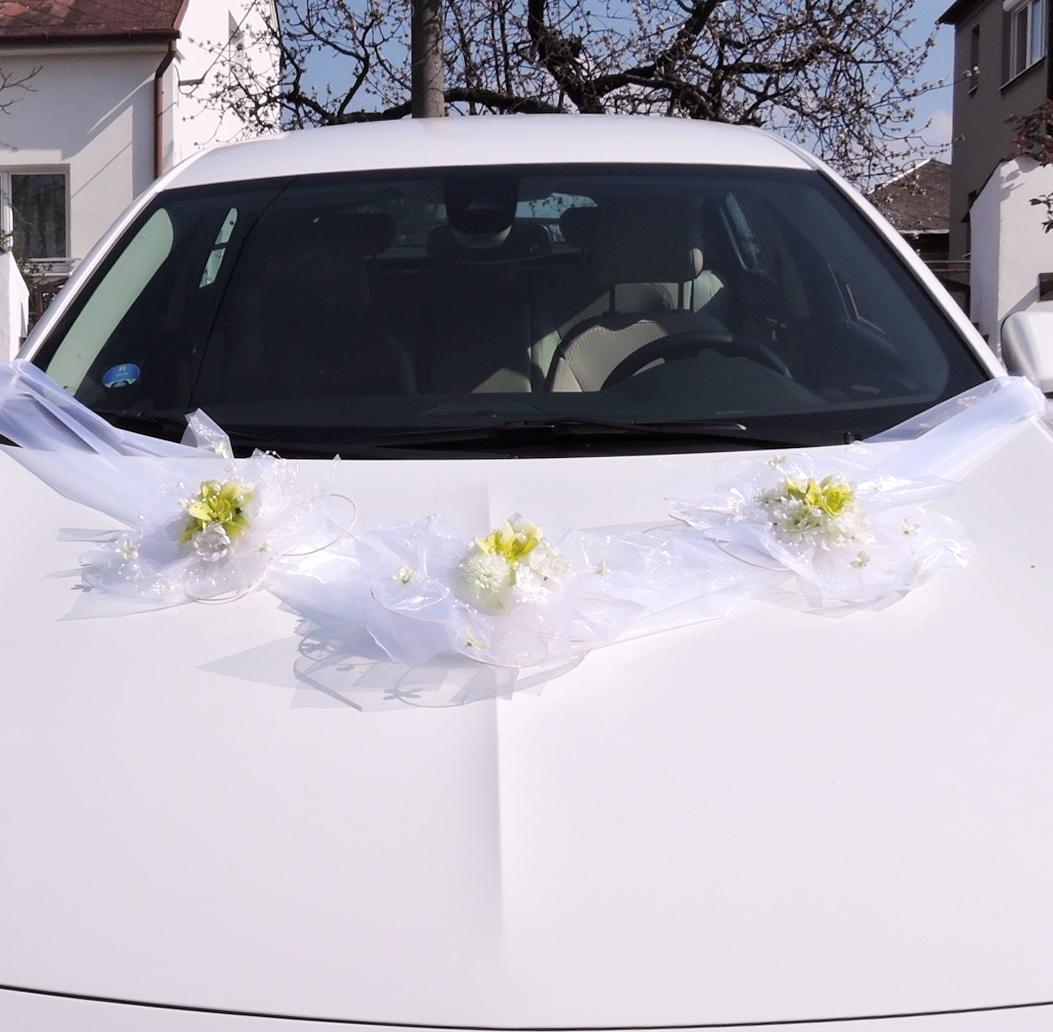 """výzdoba svatebního auta """"Zelenobílá sada + šerpa"""" - Obrázek č. 1"""