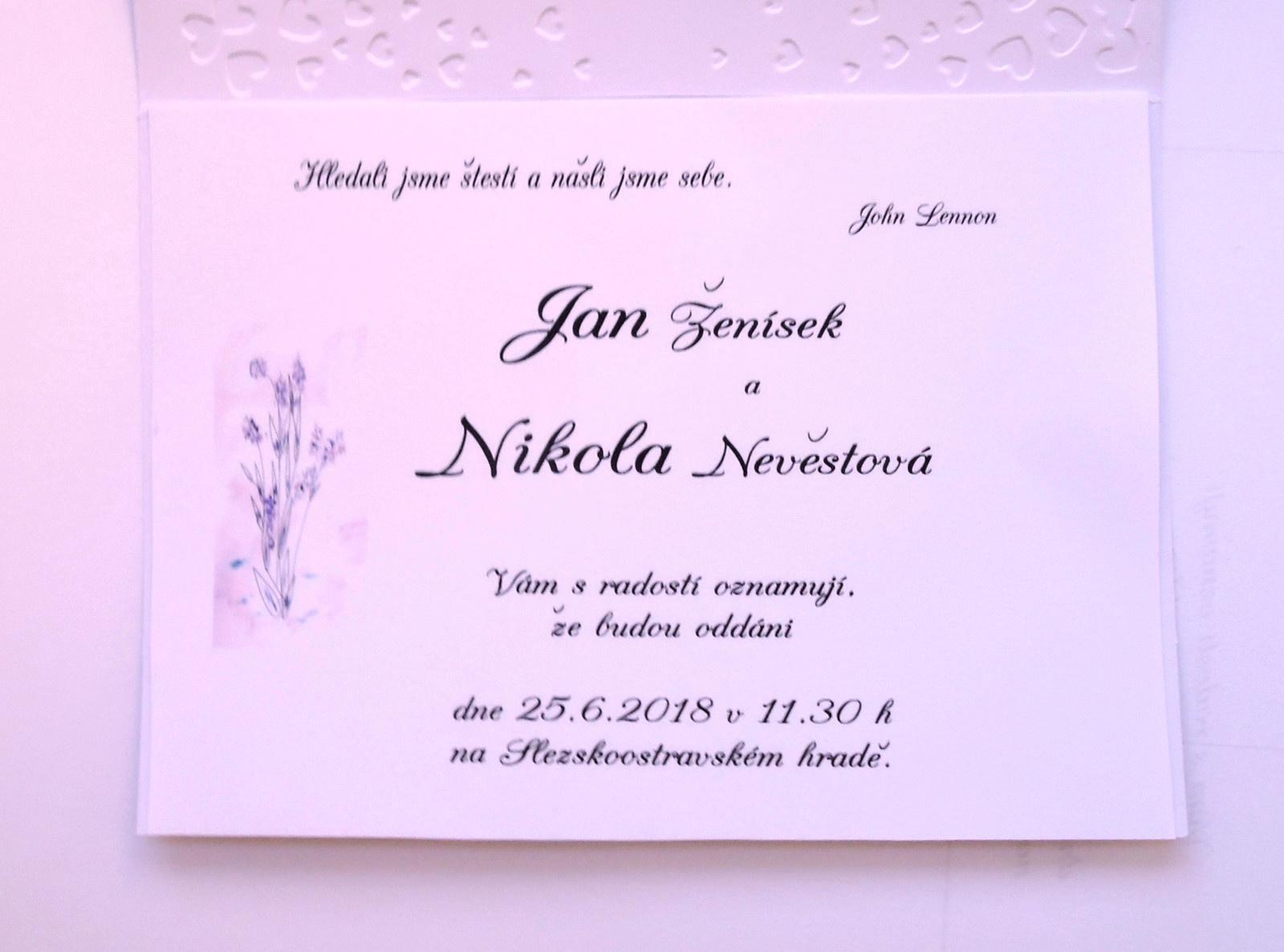"""svatební oznámení """"Tiché s levandulí 2"""" - Obrázek č. 4"""