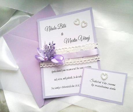 Svatební oznámení - levandule s krajkami - Obrázek č. 1