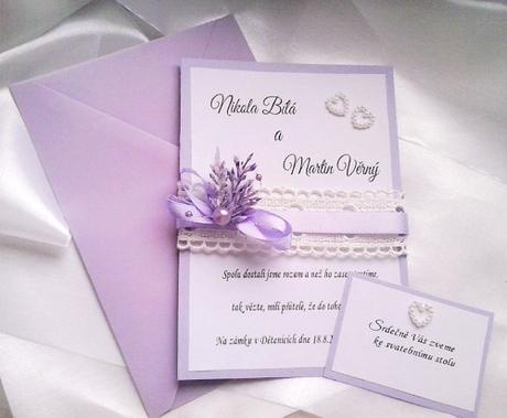 Svatební oznámení - levandule s krajkami - Obrázek č. 3