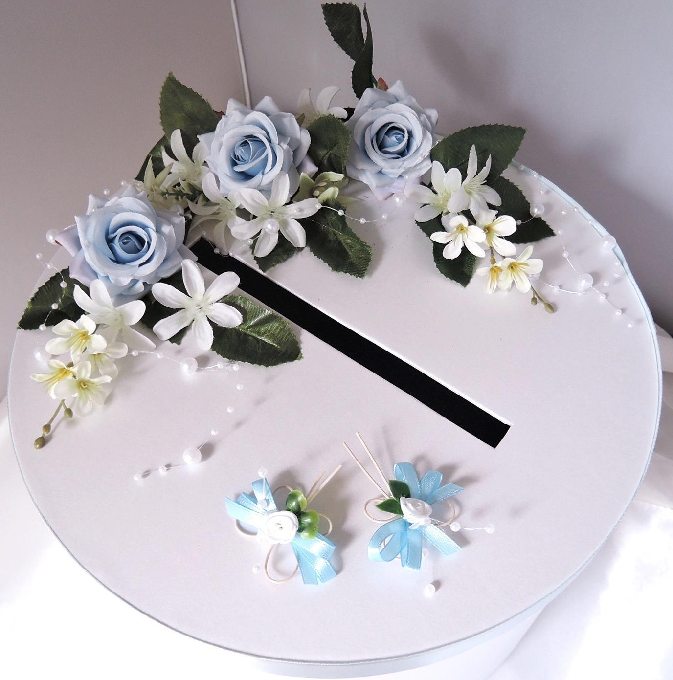 """svatební pokladnička """"Modrobílí motýlci"""" - Obrázek č. 1"""