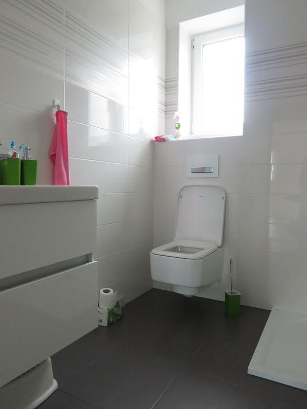 Koupelna - Spodní koupelna (ještě nedokončená), obklad Paradyź Abrila, dlažba Purio, WC-Laufen Pro S, skříňka Le bon s umyvadlem Jika Kubito. Ještě chybí ručníky v zelenkavé barvě (musí se dokoupit :-) )