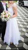 Sněhobílé svatební šaty vel.36-38, 168 cm, 36