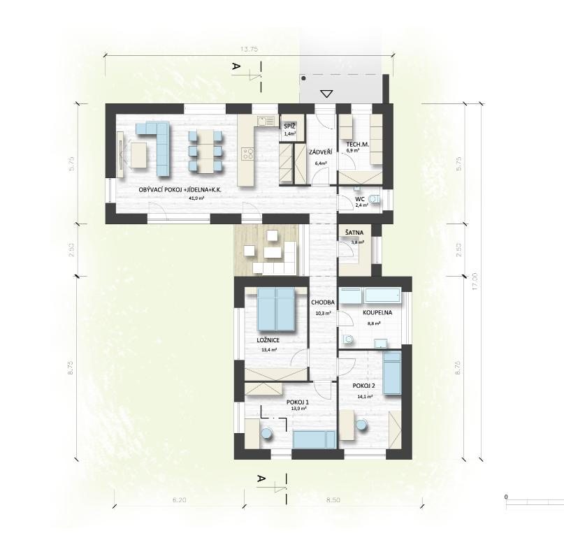Dům do L - stavba 2020/2021