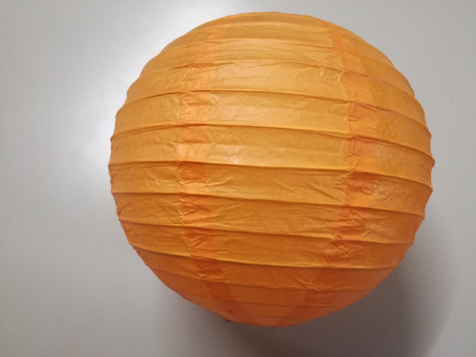 Oranžové lampiony 15 ks - průměr 20 cm, světýlka   - Obrázek č. 1