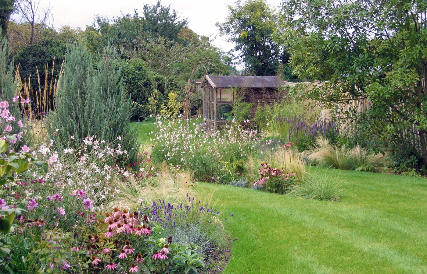 """Zahrada - inspirace - Moc hezky rozdělená zahrada - najdeme zde kavyl (okrasná tráva s """"vlasy""""), dále růžovou echinaceu, svíčkovec (bílé drobné kytičky - gaura), fialovou levanduli a šalvěj, bezkolenec a také jalovec skyrocket (podobný je i bluearrow)"""