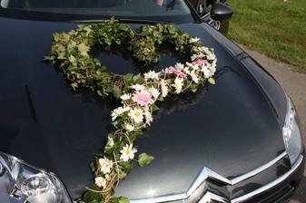 na auto nevěsty- srdce z břečtanu a kal