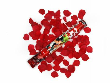 Vystreľovacie confetti - Lupienky ruží (bordové)  - Obrázok č. 1