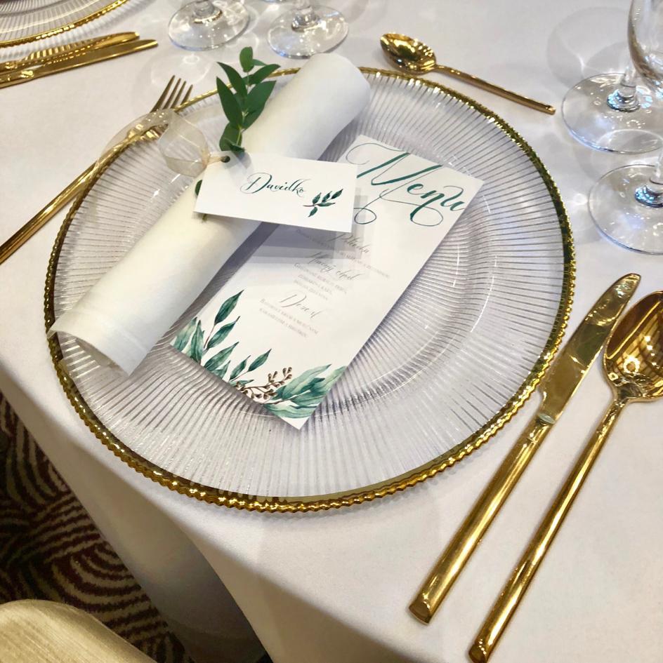 Klubové taniere so zlatým lemom (prenájom) - Obrázok č. 1