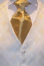 Detail vesticky,len viazanka je kremovo zlata so sirsim uzlom