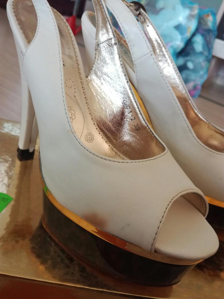 Biele sandále na leo platforme, veľ.39 - Obrázok č. 3