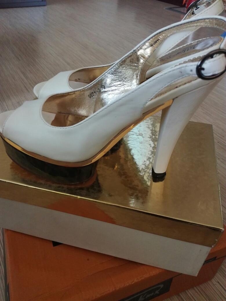 Biele sandále na leo platforme, veľ.39 - Obrázok č. 1