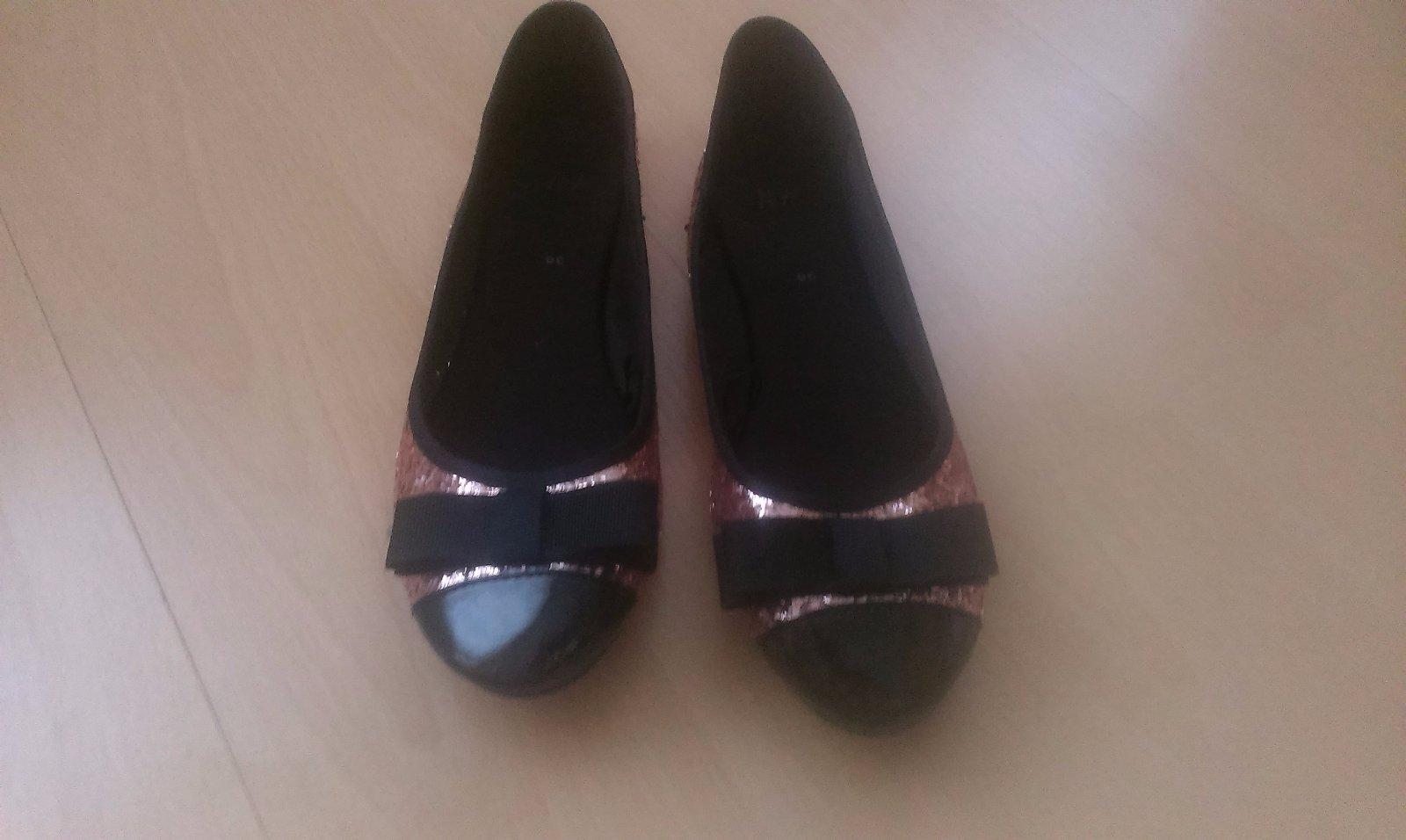 Balerínky ružovo-čierne glitrové, H&M, v.36 - Obrázok č. 2