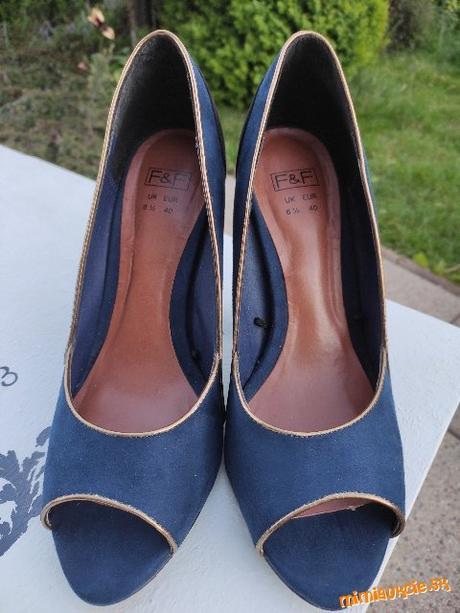Modro - čierne open toe lodičky, veľ. 40, vn. dĺžka 25,5 cm - Obrázok č. 4