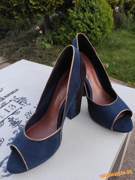 Modro - čierne open toe lodičky, veľ. 40, vn. dĺžka 25,5 cm - Obrázok č. 1