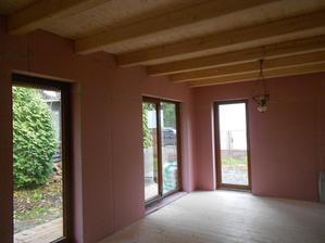 Růžové sádrokartony - protipožární a prozatímní lustr /tedy torzo lustru/.