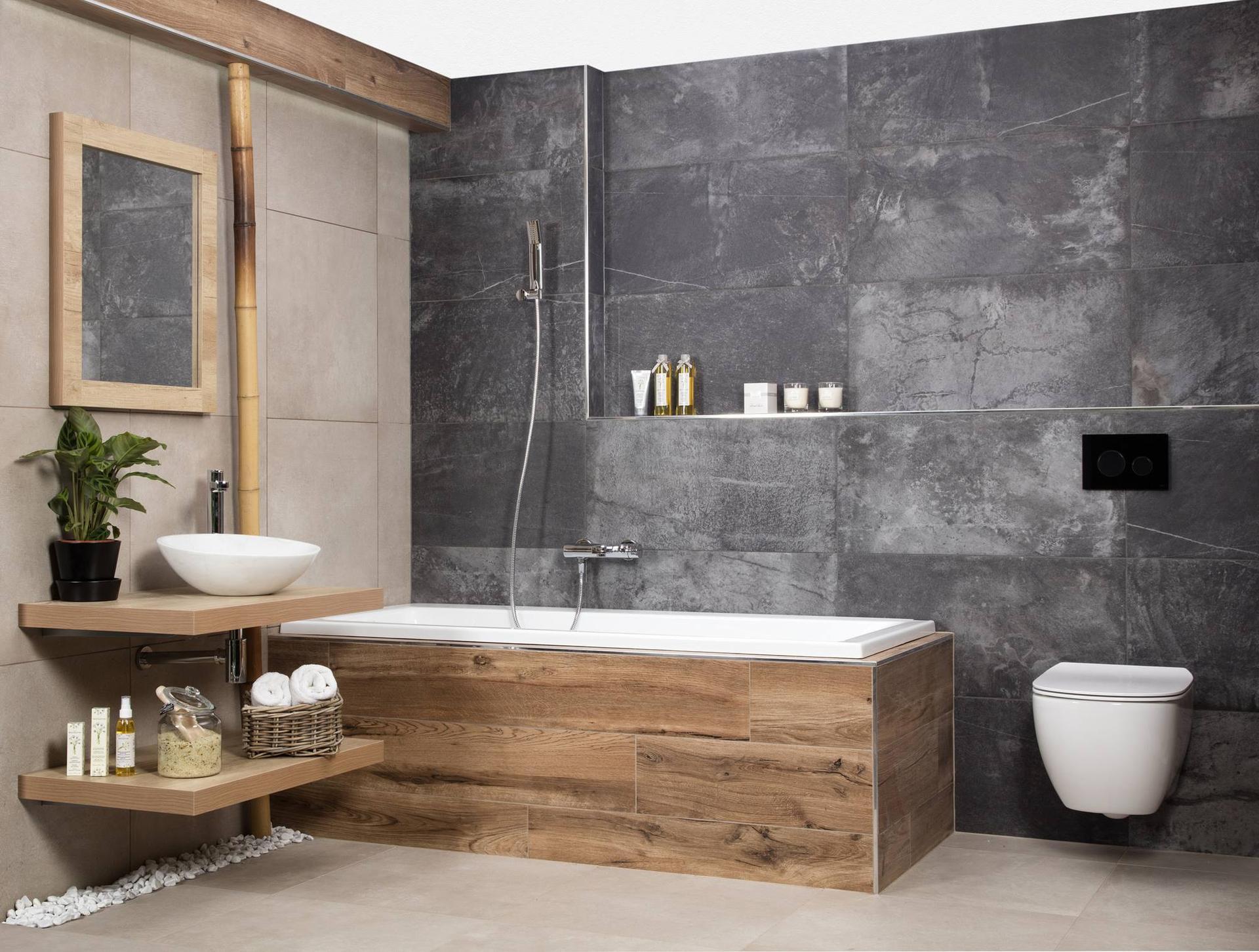 Zdravím,  s manželem nás doslova uchvátila tato koupelna a včera jsme viděli i v podobném duchu kuchyn. Máte někdo doma ?Mohla bych poprosit o fotku?  Kuchyn měla být původně bílá + dub ale tato do nás nějak udeřila tzv. :) - Obrázek č. 1