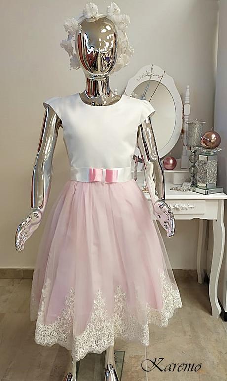 Šaty s ružovou krajkovou sukňou 134, 140,146,152,1 - Obrázok č. 1