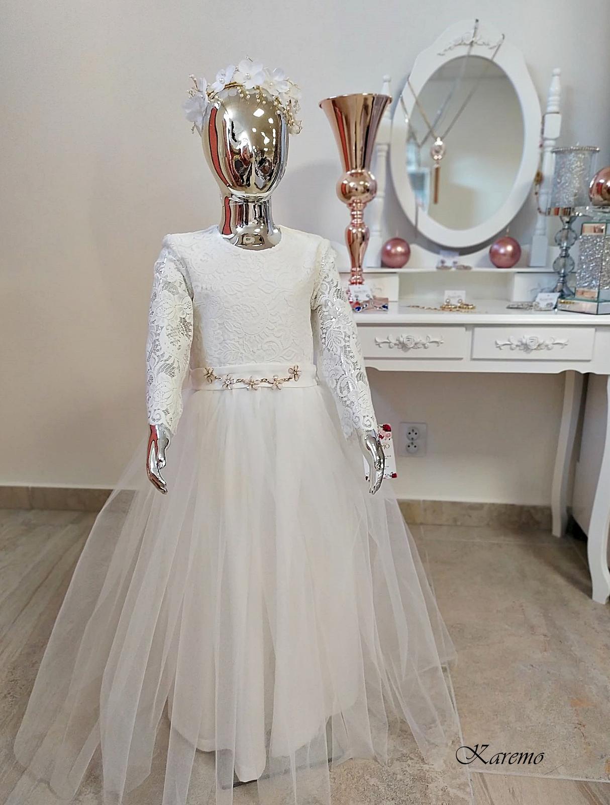 Detské šaty dlhé biele 128,134 - Obrázok č. 1