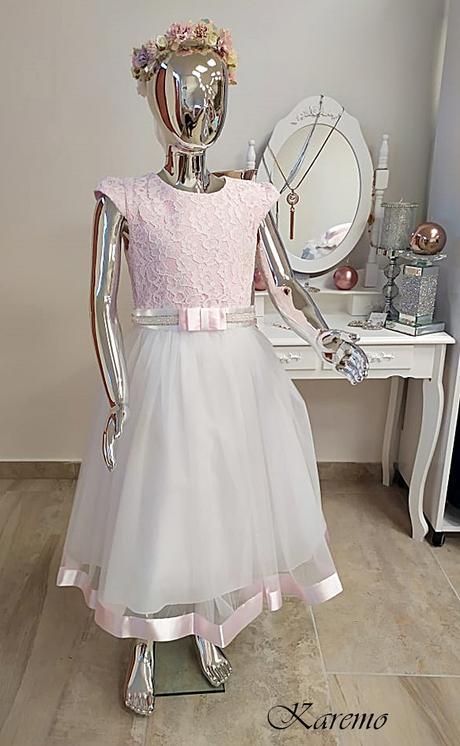 Detské šaty bielo ružové 152,158 - Obrázok č. 1