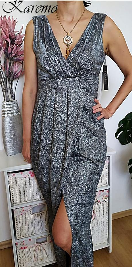 ligotavé šaty strieborné 38,40 - Obrázok č. 1