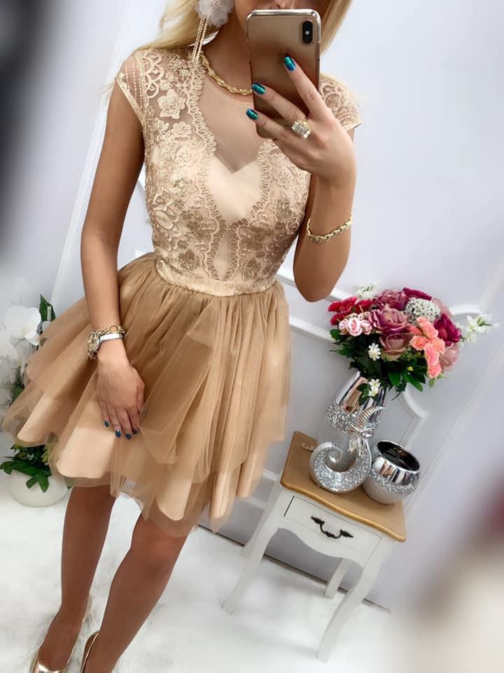 Spoločenské šaty zlaté krátke 34,38 - Obrázok č. 1