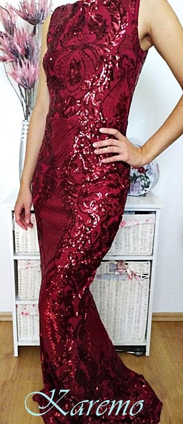 Spoločenské šaty červené žiarivé 36 - Obrázok č. 1