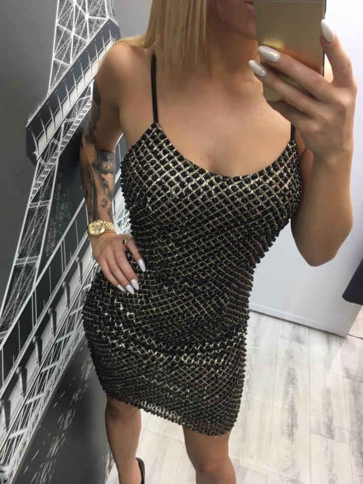 Šaty elastické čiernozlaté s perličkami S,M,L - Obrázok č. 1
