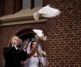 vypúšťanie holubíc pred kostolom