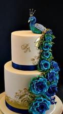 svadobná torta s pávom