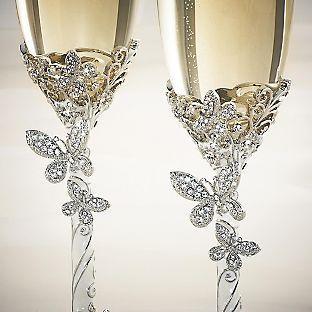 Svadba inšpirovaná krásou motýľov - svadobné poháre