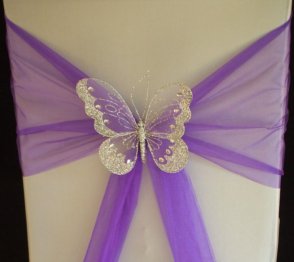 Svadba inšpirovaná krásou motýľov - návlek na stoličku