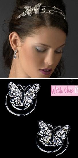 Svadba inšpirovaná krásou motýľov - čelenka + vlásenky
