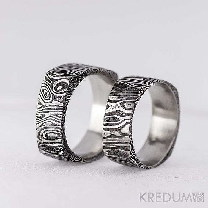 kredum - Snubní prsten kovaná nerezová ocel damasteel - Kulatý čtvereček     www.adamvtriku.cz