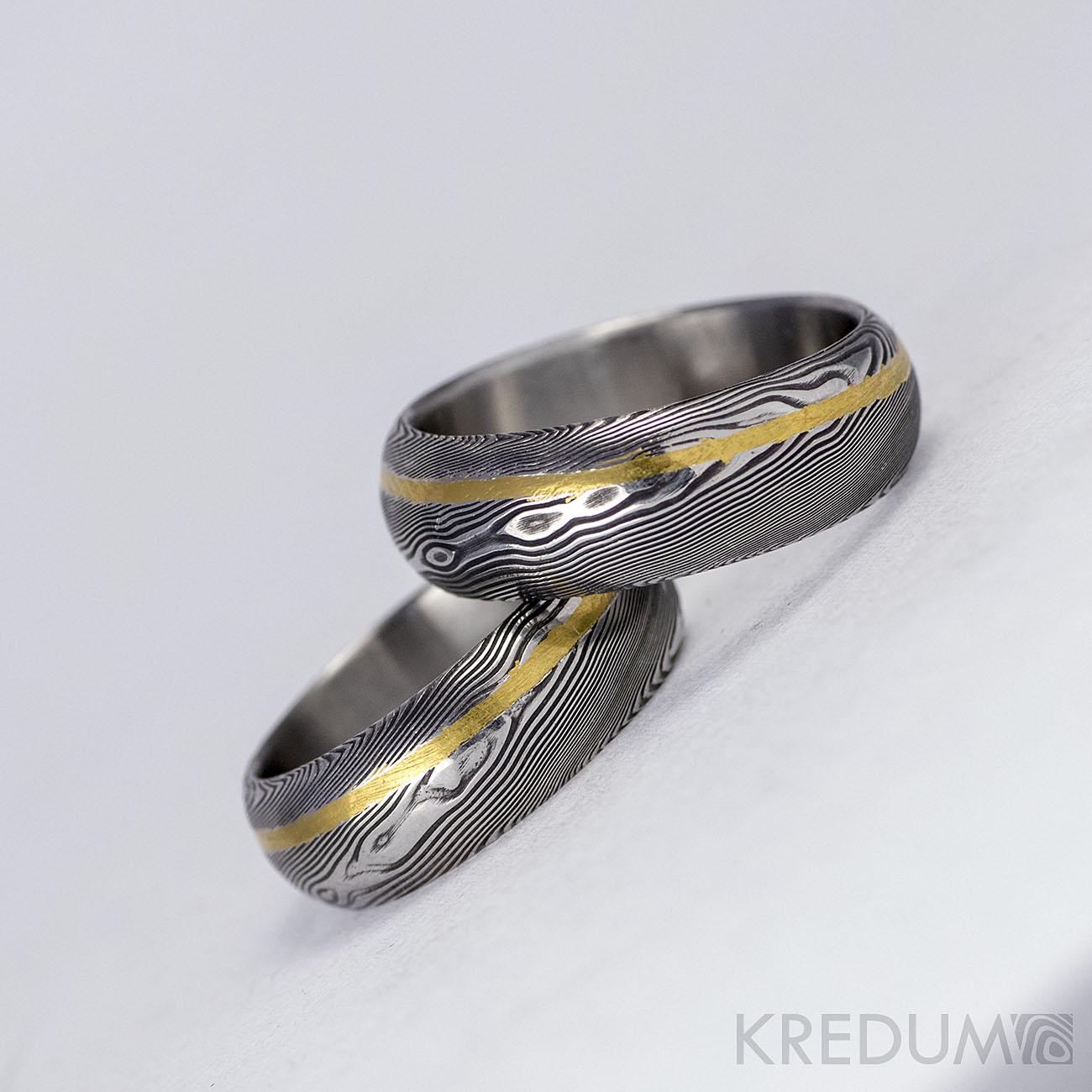 Pár nových prstenů v kombinaci damasteel a zlato, bílé zlato či stříbro - Obrázek č. 1